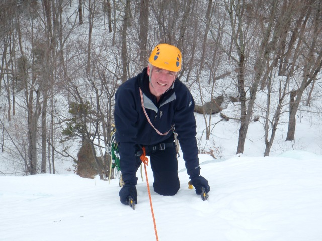 Bob topping out the 150 foot section of neve-like climbing...