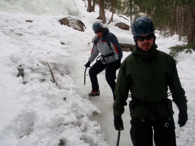 Instruction starts with learning how to walk with crampons on...