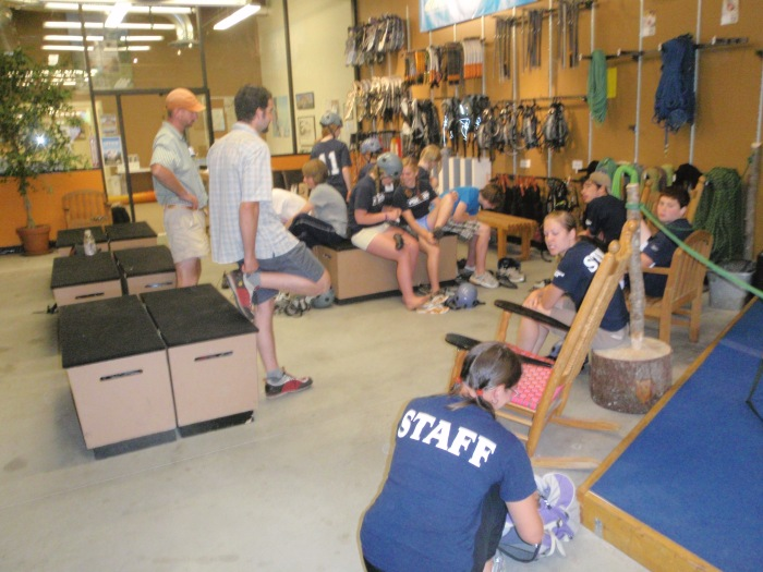 We geared up at the school with harness, helmets, shoes and ropes...