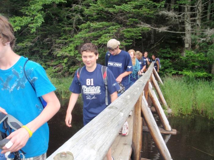 On the hike out we cross a bridge near a beaver dam...