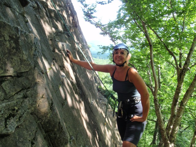 Throughout the morning climbing techniques came back to Ilona...