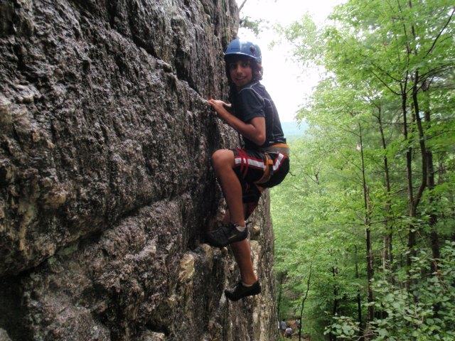 The boys climbed well despite steep wet rock!