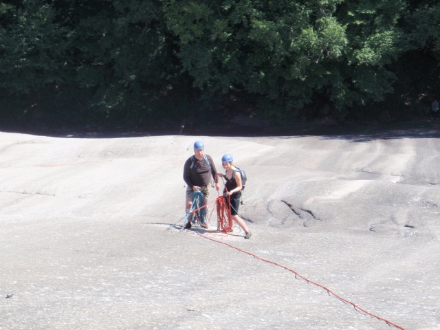 Dad and Daughter at the 1st pitch belay...