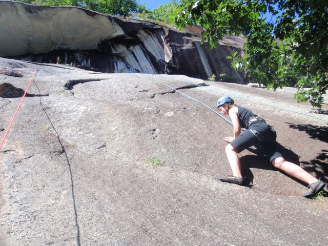 """Laura walking up """"Relic Hunter"""", 5.7 at the Echo Roof area..."""