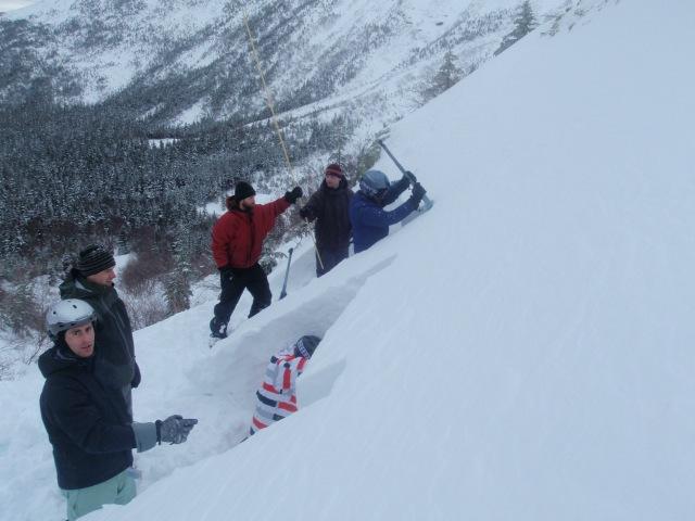 Snowpits on a test slope on the Little Headwall below Tuckerman Ravine...