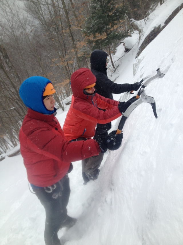 Practicing ice axe placement...