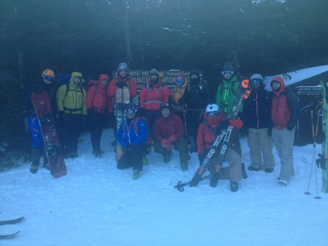 Group photo at HoJo's before skiing down the Sherbie...