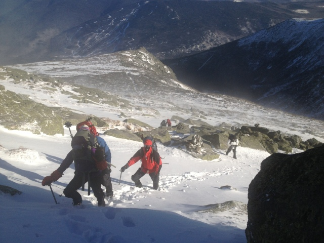 Heading up the summit cone