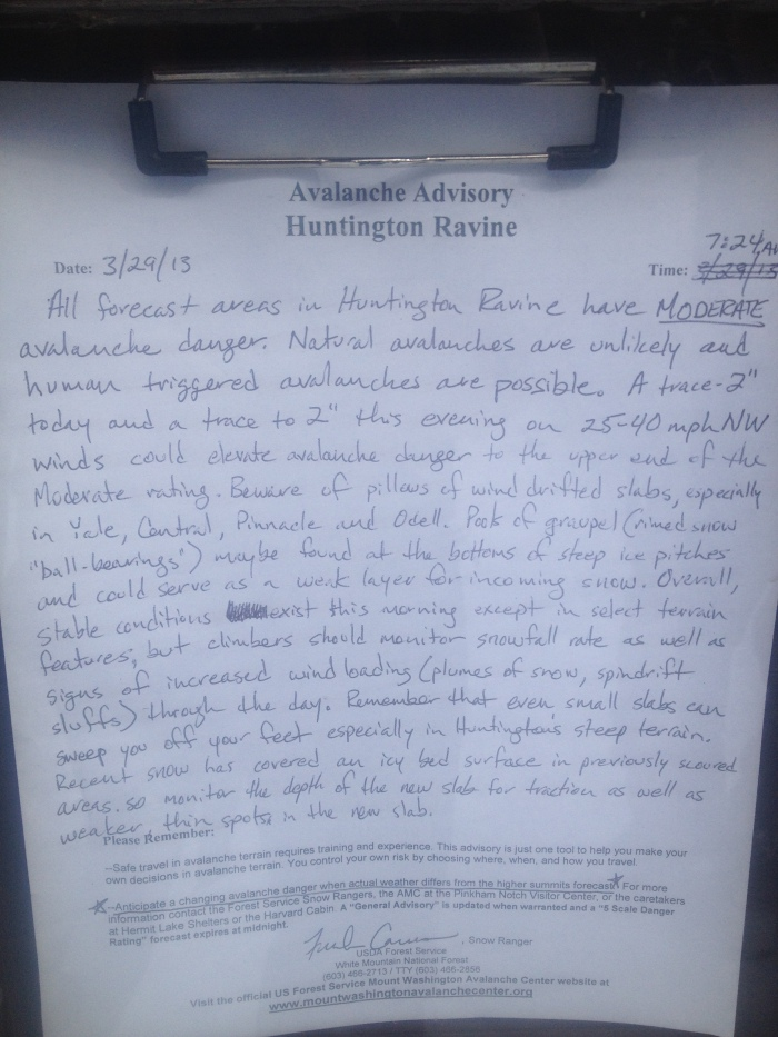 The hand written bulletin for the day