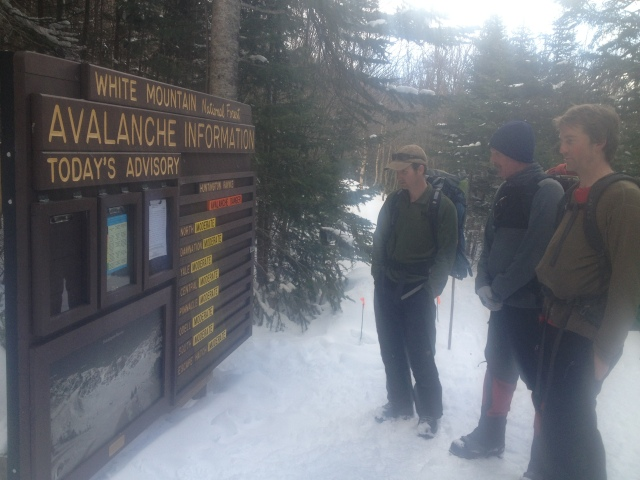 Checking the updated avalanche conditions at Harvard Cabin
