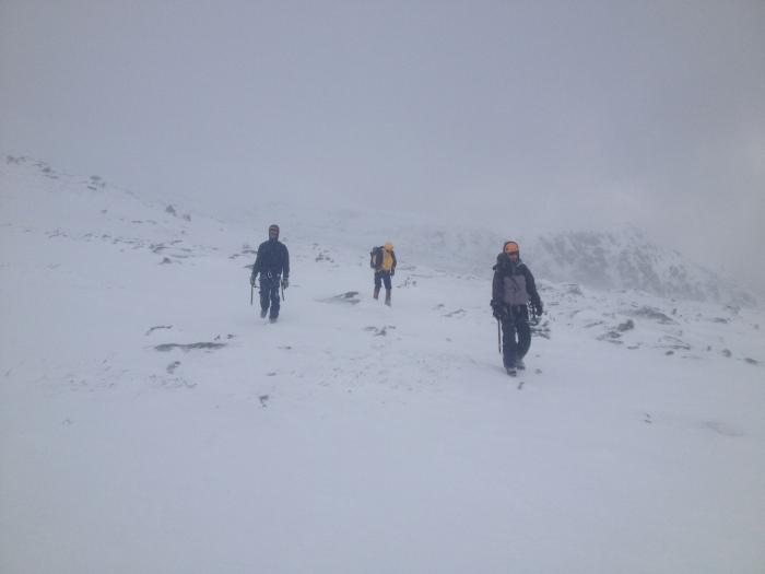 Crossing Alpine Gardens in surprisingly pleasant conditions