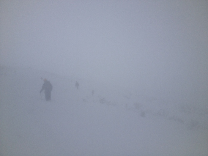 A bit of white-out while contouring over to Lions Head trail via Raymond Cateract