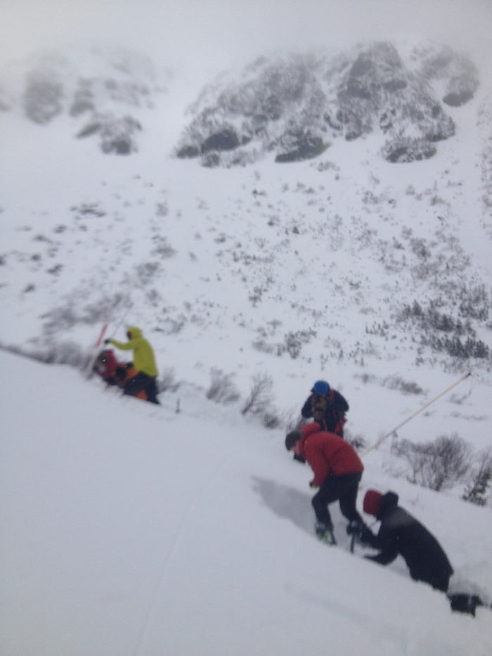 We dug into a small north east slope below and to the left of Left Gully