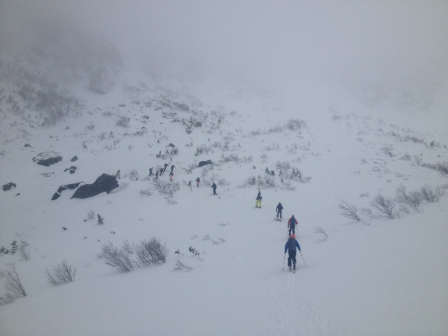 Heading up towards the left side of Left Gully