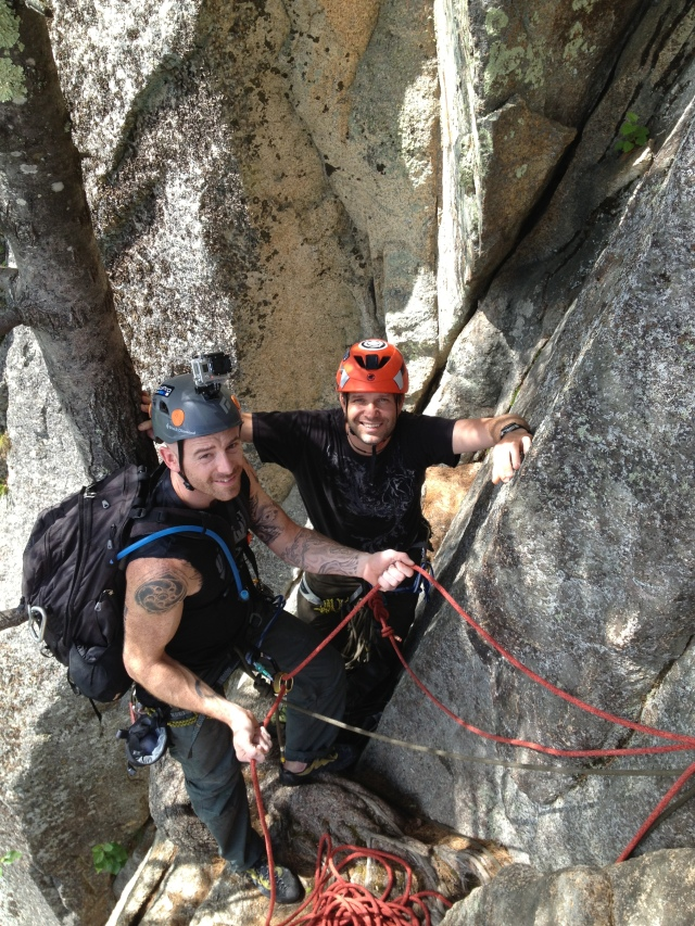 Alan and Chris at the pitch 2 belay, Upper Refuse