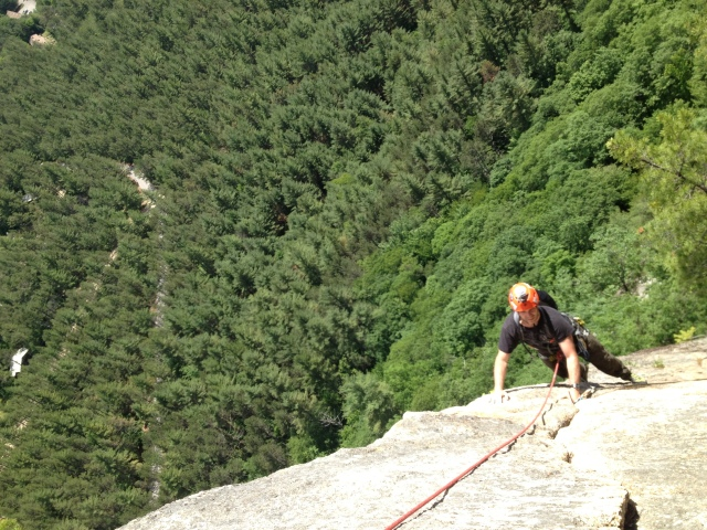 Chris on the 3rd pitch of Upper Refuse