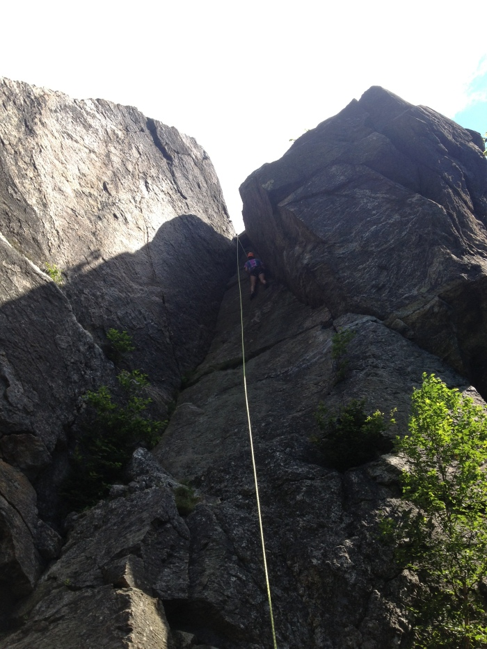"Reaching the top of ""The Chimney"", 5.6"