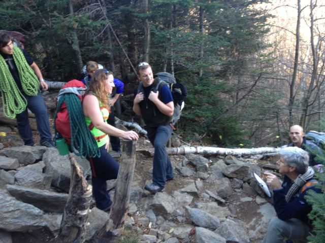 Some group talk at the base of Square Ledge
