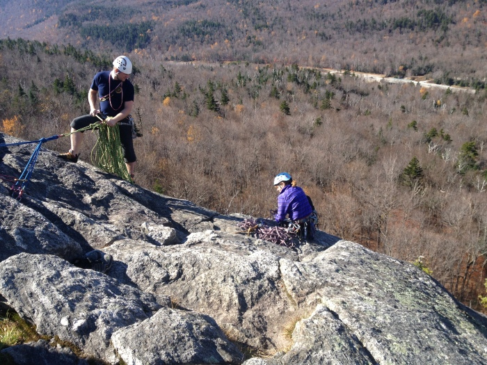Christopher and Ilene managing a top belay station