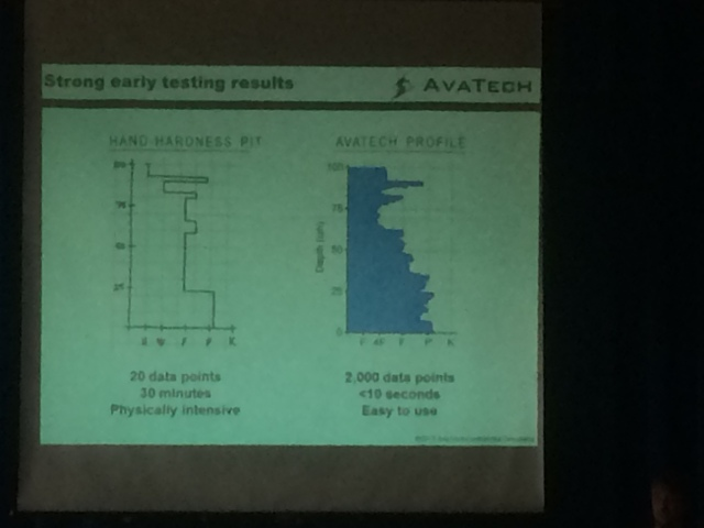 Traditional pit profile (30 mins), compared to AvaTech penetrometer (30 secs)