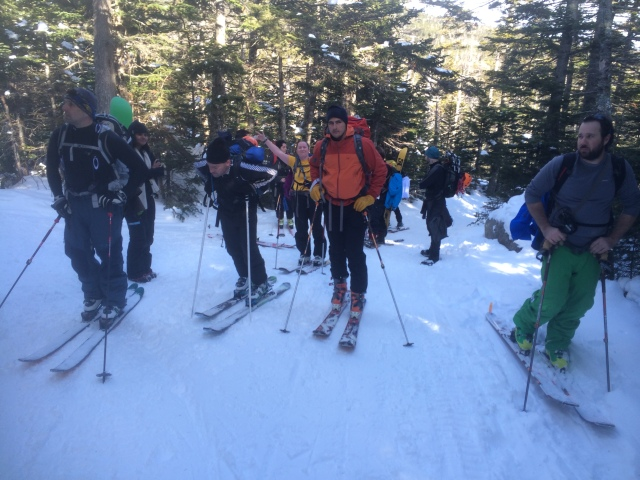 Heading up Tuckerman Ravine Trail, EMS Schools AIARE Avalanche Course