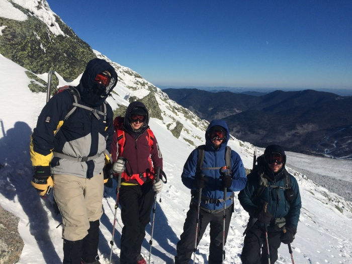 Brief stop at Split Rock during descent