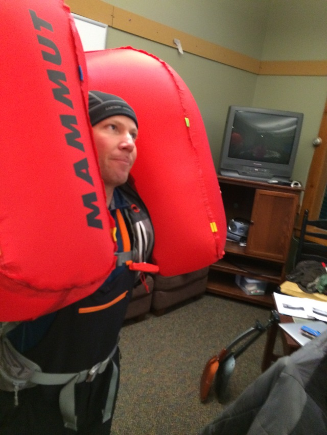 Mike demonstrates his Mammut Pulse Air Bag