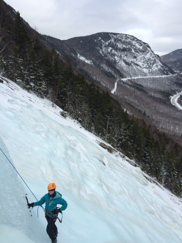 Dorcinda picks the steeper, somewhat wetter, line through the bulges...