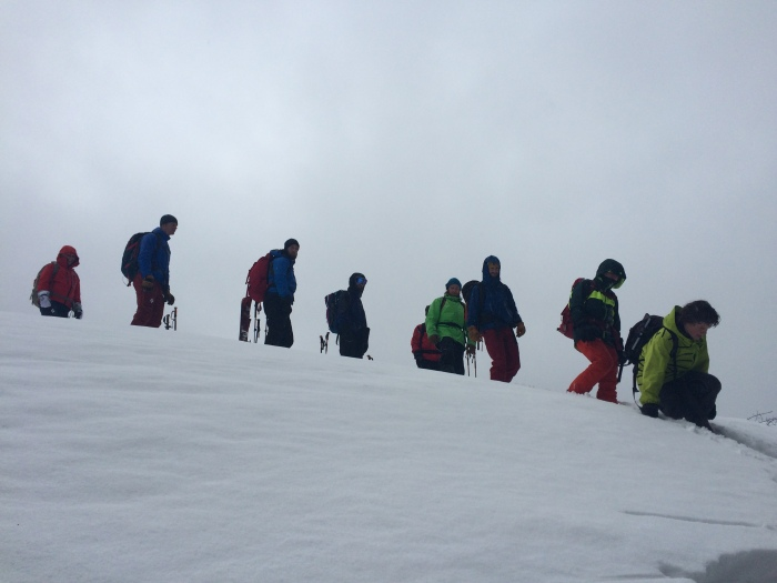 Our group descends our test slope on Day 2 to learn about Snowpack Observations