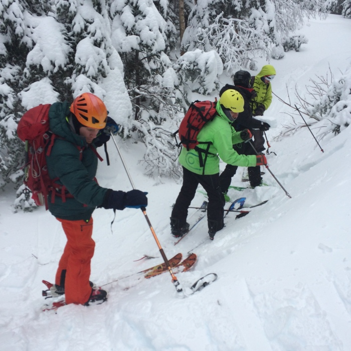 The group practices some Hand Shear tests on our approach to the Little Headwall