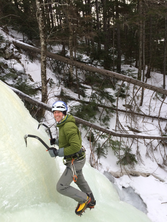 Steve is all smiles as we start the steeper ice low in The Flume