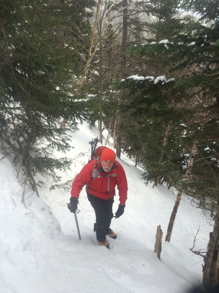 """George tackles the first steeper bit of Lion's Head Winter Route and learns about the efficiency of """"French Technique"""""""