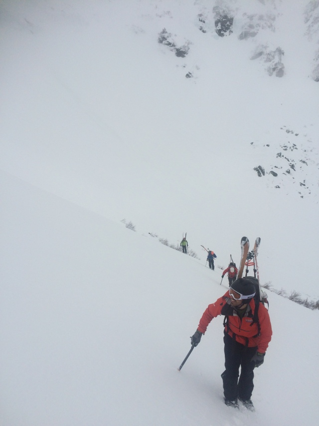 Dustin and crew crossing the run out and starting the boot pack up climbers right side of Left Gully.