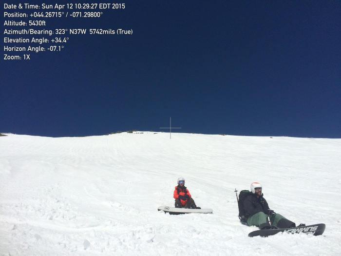 Looking back up the East Snowfields with Allyson & Tod taking a quick break. Slope info is captured thanks to Theodolite iPhone App!