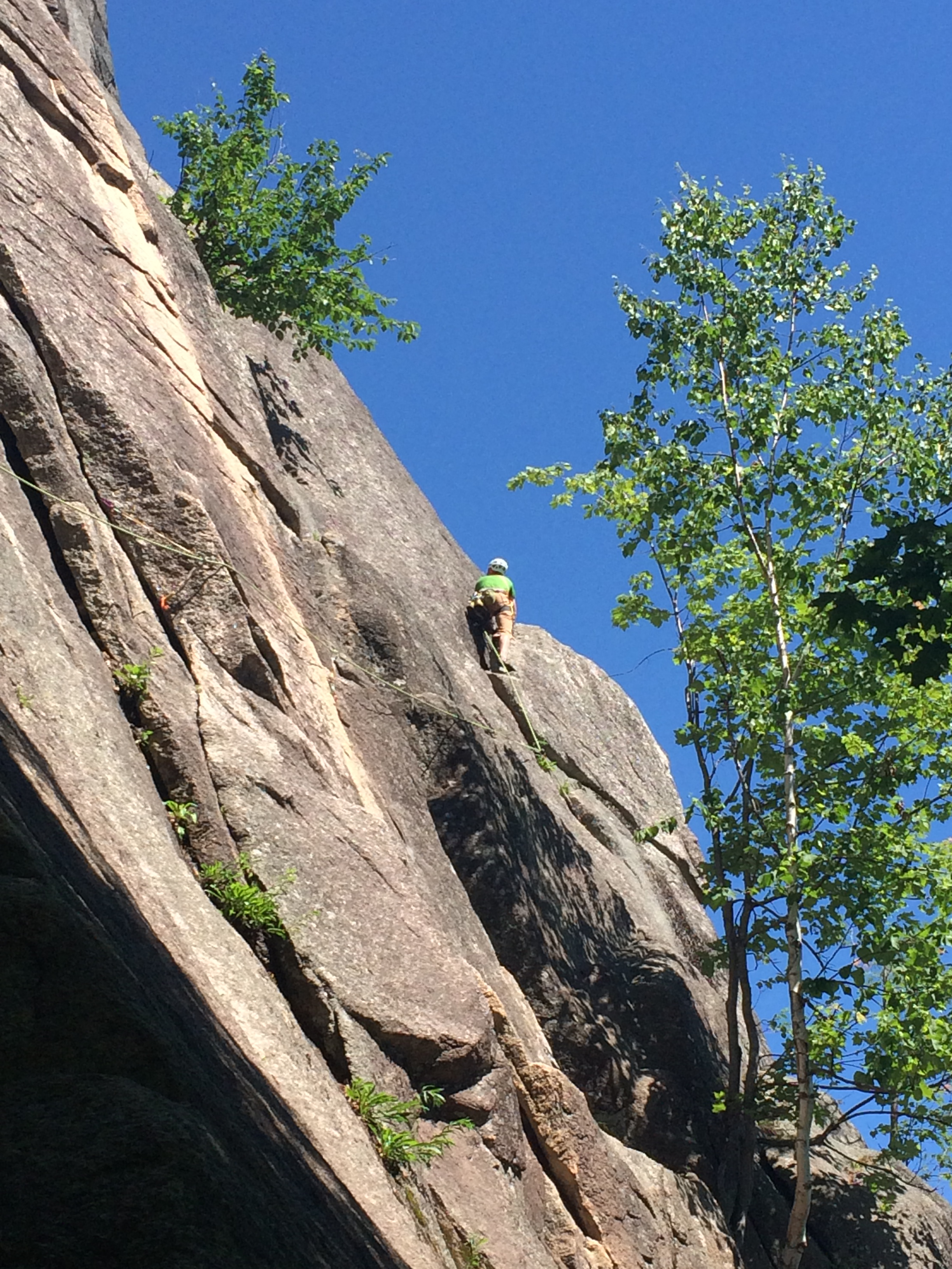 Pitch one of Standard Route, use long slings, then cross the Chimney and head for this big block!