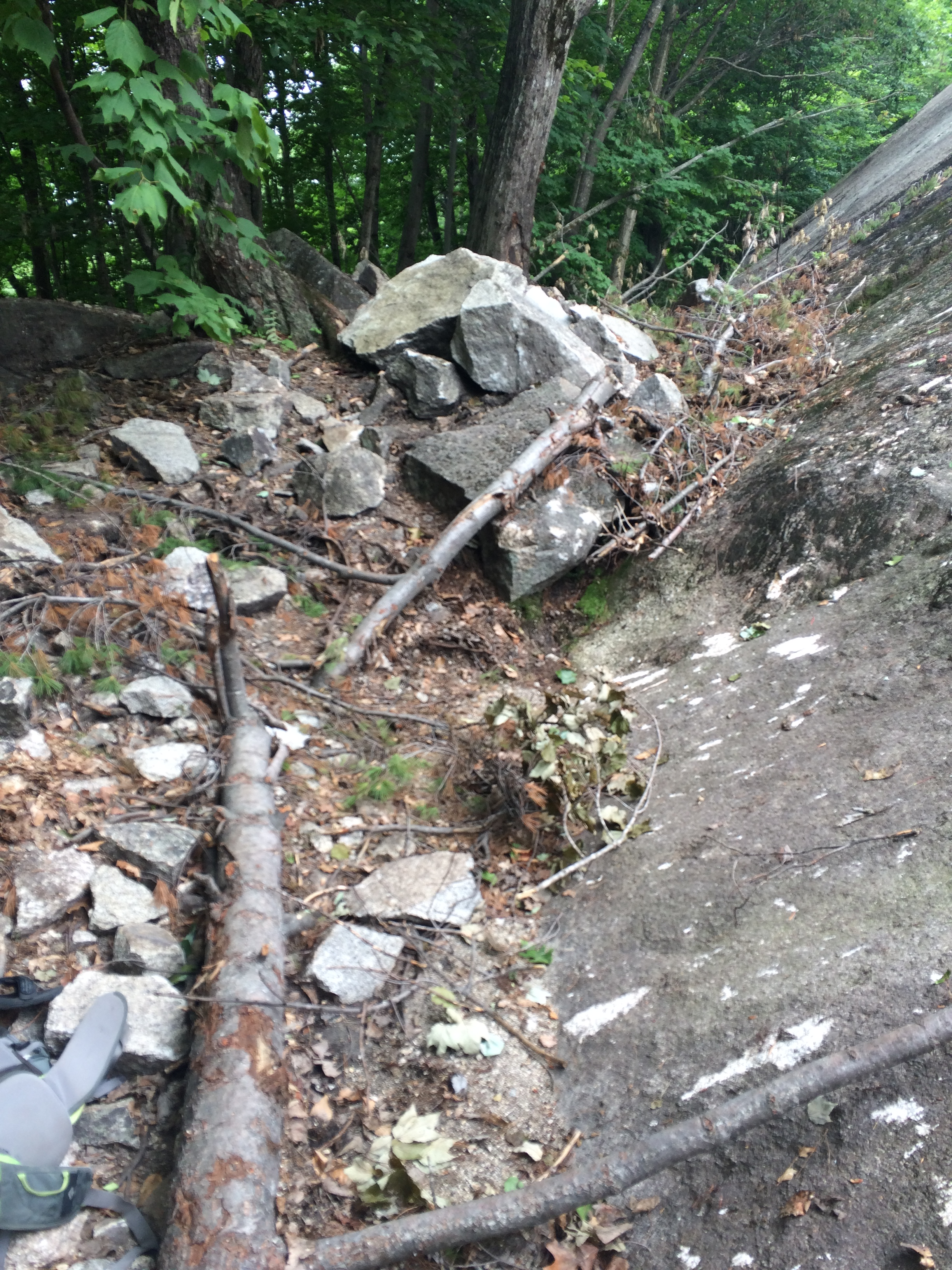 Recent rockfall below the Dike Route