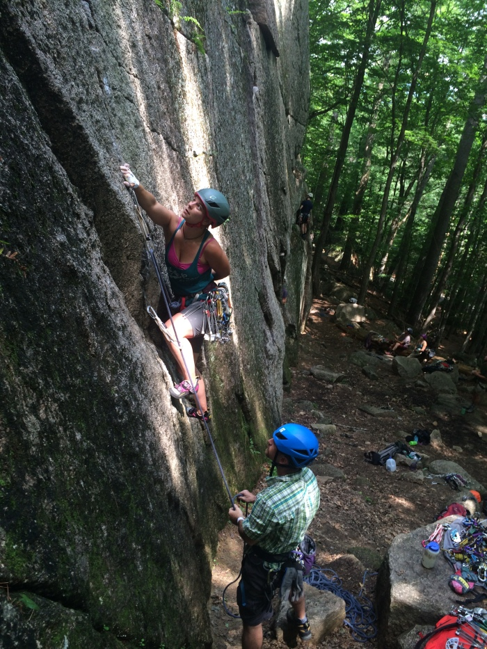 Christa starts her first 5.9 lead, They Died Laughing, Cathedral Ledge