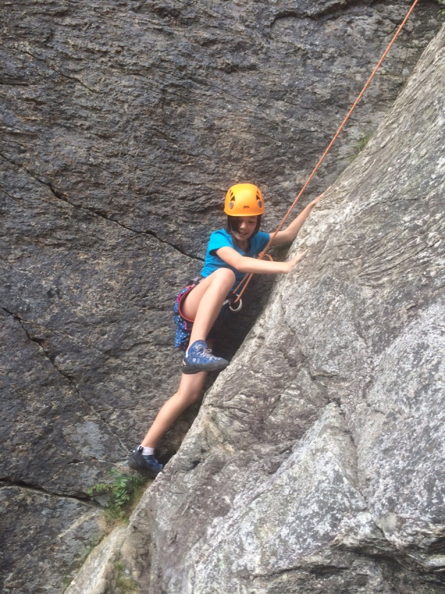 Vivian starts up the Chimney Route