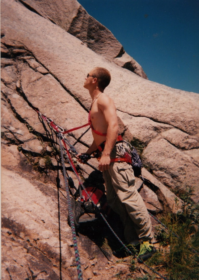 Top of the first pitch during a subsequent ascent, probably Summer of 1995