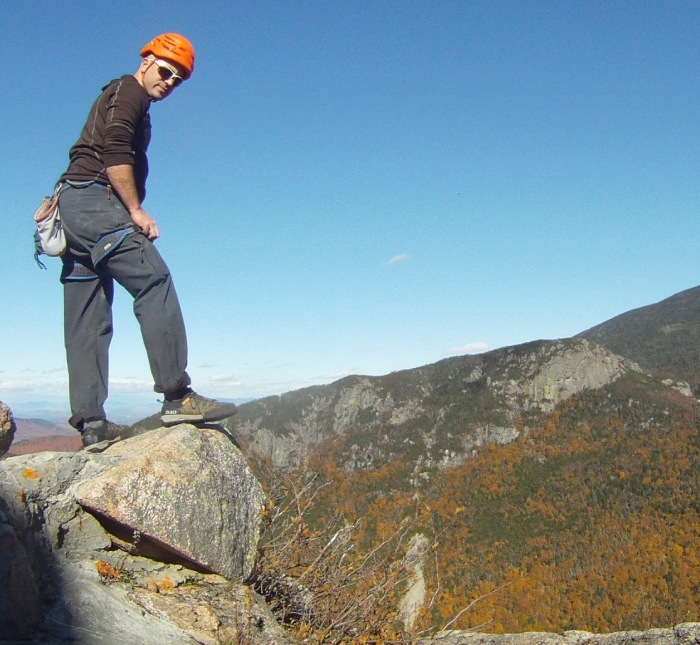 Top of Cannon Cliff after climbing Lakeview, Grade III 5.6