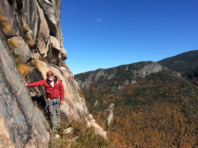"""Oliver at the """"Lunch Ledge"""" 2 pitches from the top"""
