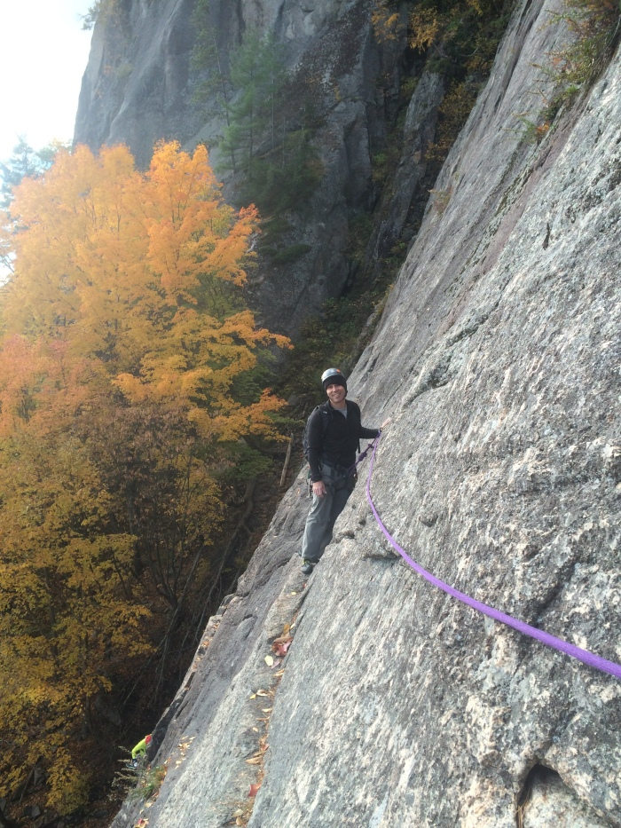 Manny on the classic Thin Air Traverse, Cathedral Ledge