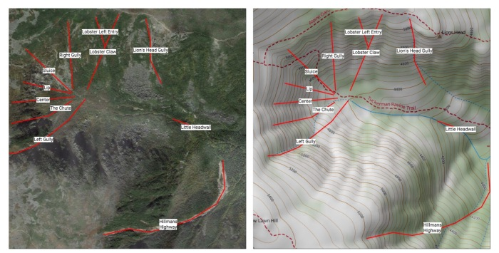 Tuckerman Ravine Ski Routes
