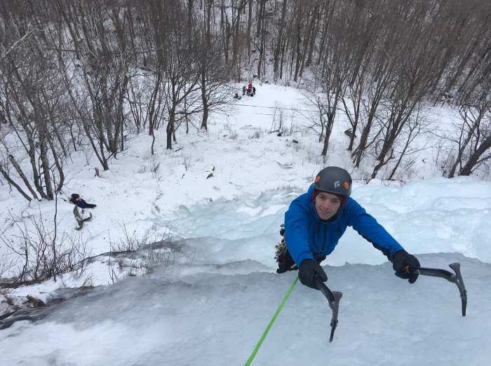 Ice Climbing Frankenstein Cliffs