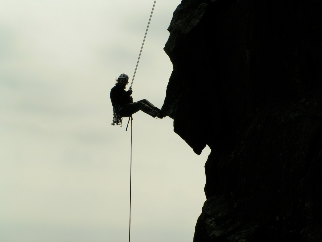 Rappelling off The Eaglet, Franconia Notch State Park, New Hampshire