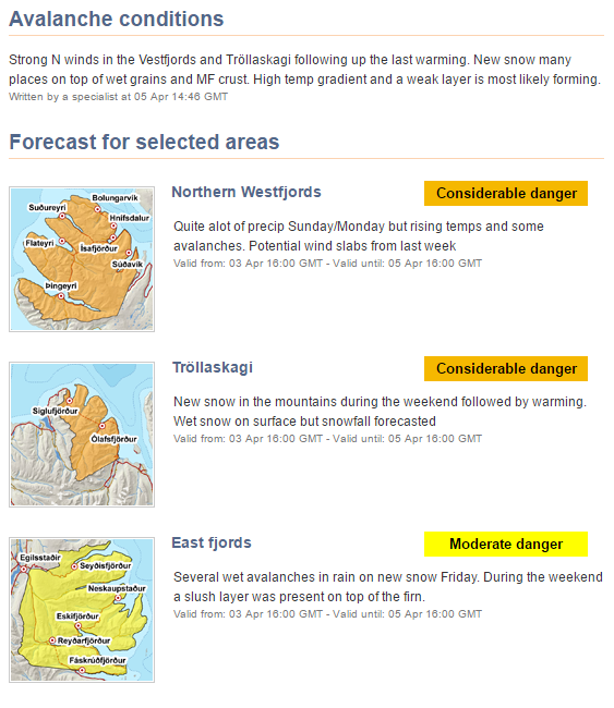 Avalanche Danger in Iceland