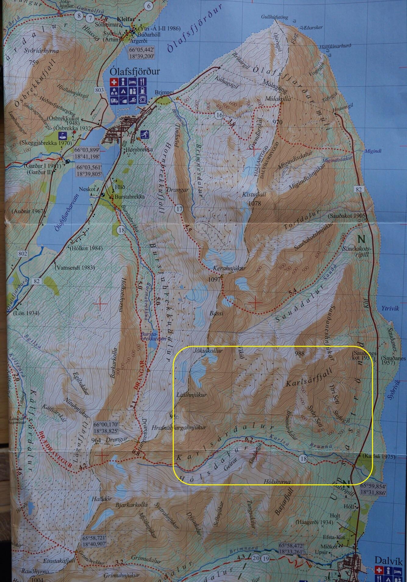 Iceland Ski Tour Map