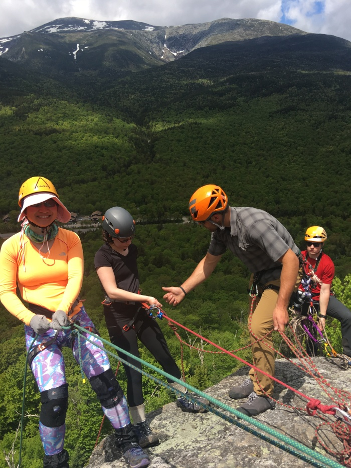 Cliff rappelling White Mountains New Hampshire