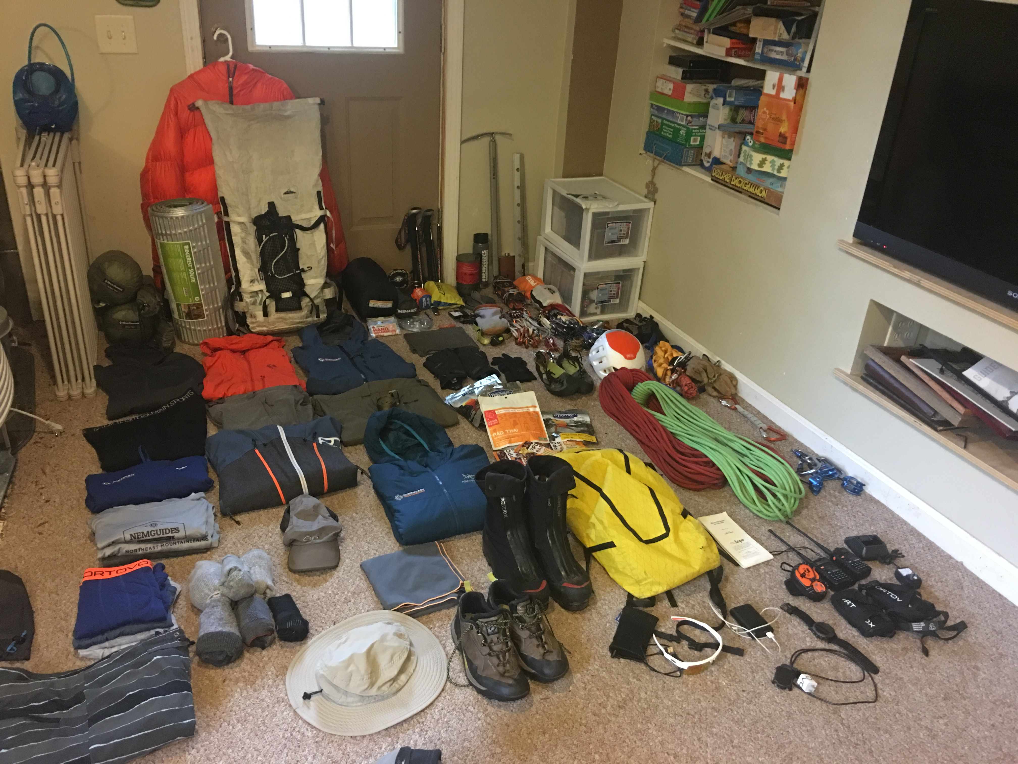 Packing for Cascades Climbing Trip