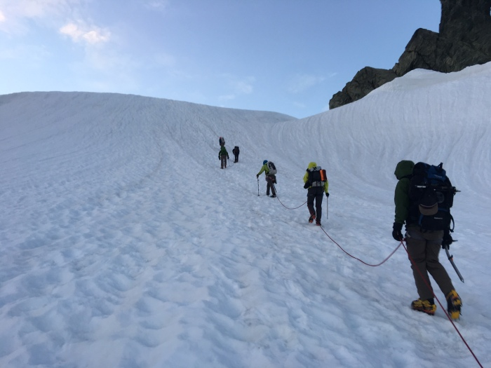 Last steeper pitch before gaining the Sulfide Glacier, Mount Shuksan
